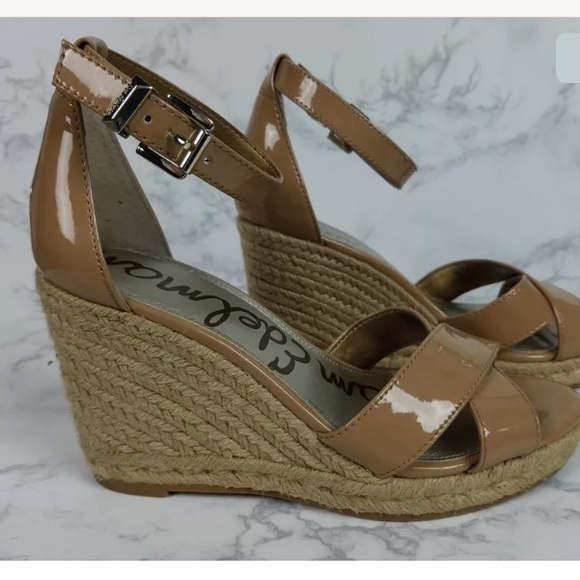 0ecd8fd2df6 Sam Edelman Brenda Wedge Sandals 7.5 Nude Tan. M 5a64156d8290afb72a3d383a